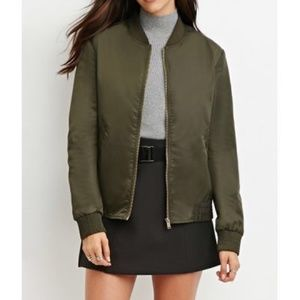 Forever 21 Army Green Bomber Jacket - Size S